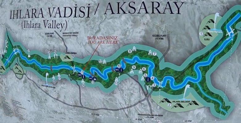 Схема маршрута по долине Ихлара